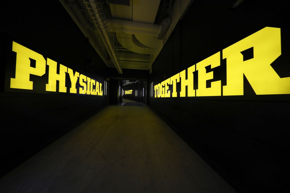 The Hawkeye Football Team sees the updates to their entrance tunnel at Kinnick Stadium for the first time Thursday, August 22, 2019 in Iowa City. (Brian Ray/hawkeyesports.com)