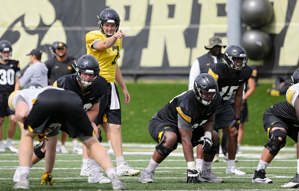 Iowa Hawkeyes quarterback Spencer Petras (7) points across the line during Fall Camp Practice No. 15 at the Hansen Football Performance Center in Iowa City on Monday, Aug 19, 2019. (Stephen Mally/hawkeyesports.com)
