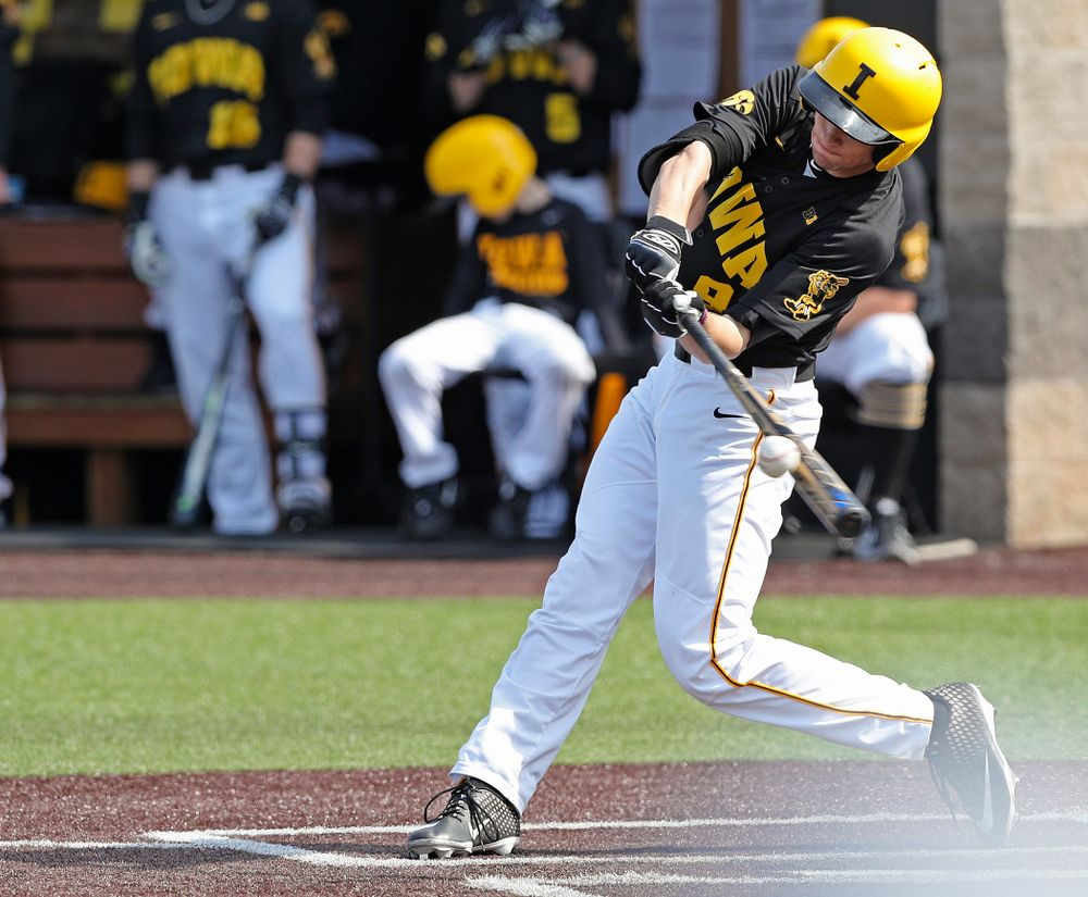 Iowa Hawkeyes center fielder Ben Norman (9) bats during the fourth inning of their game against Rutgers at Duane Banks Field in Iowa City on Saturday, Apr. 6, 2019. (Stephen Mally/hawkeyesports.com)