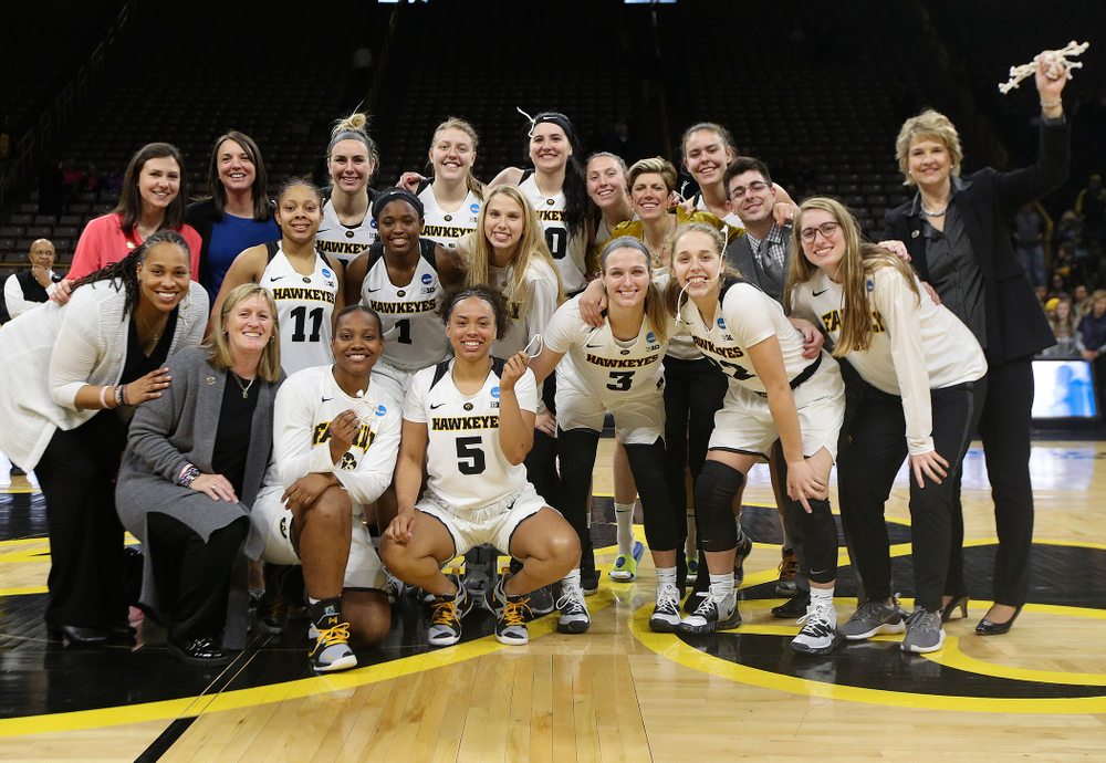 after winning their second round game in the 2019 NCAA Women's Basketball Tournament at Carver Hawkeye Arena in Iowa City on Sunday, Mar. 24, 2019. (Stephen Mally for hawkeyesports.com)