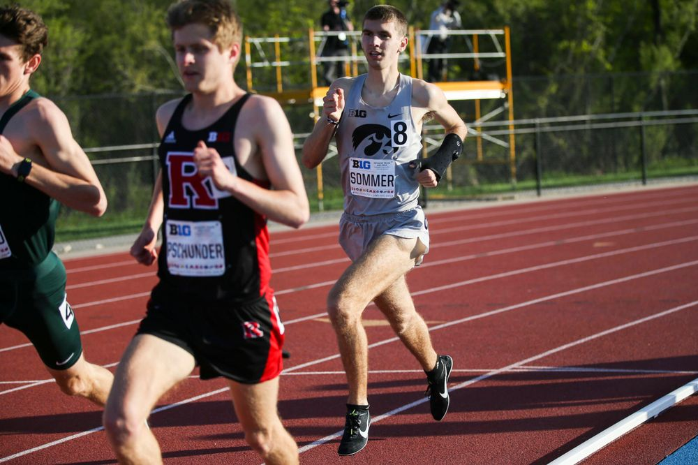 Iowa's Karson Sommer runs during the men's 1500-meter run at the Big Ten Outdoor Track and Field Championships at Francis X. Cretzmeyer Track on Friday, May 10, 2019. (Lily Smith/hawkeyesports.com)
