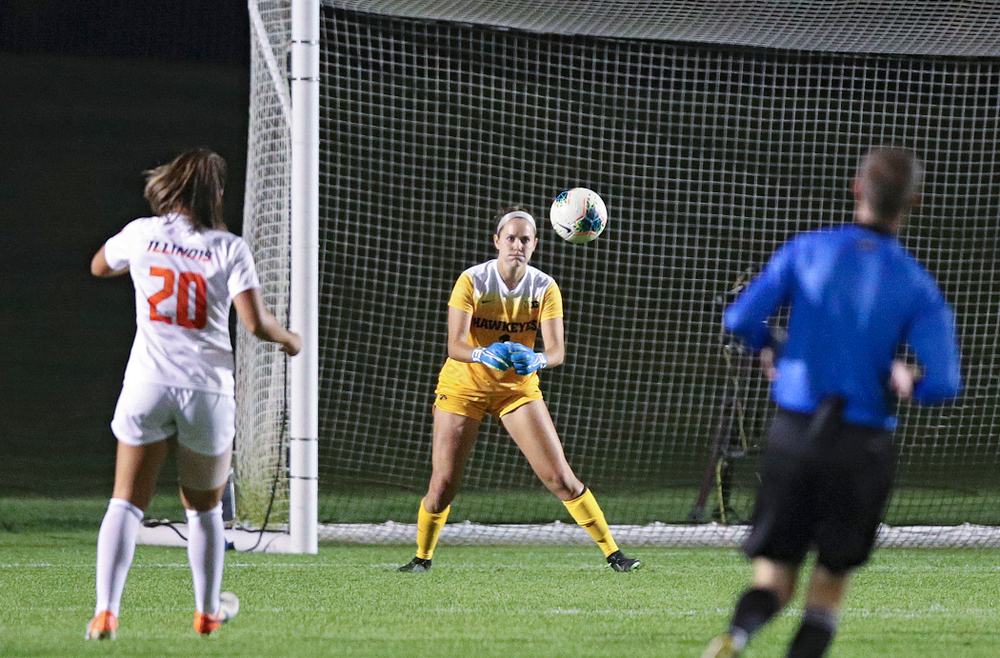 Iowa goalkeeper Claire Graves (1) eyes a shot as it comes in during the second half of their match against Illinois at the Iowa Soccer Complex in Iowa City on Thursday, Sep 26, 2019. (Stephen Mally/hawkeyesports.com)