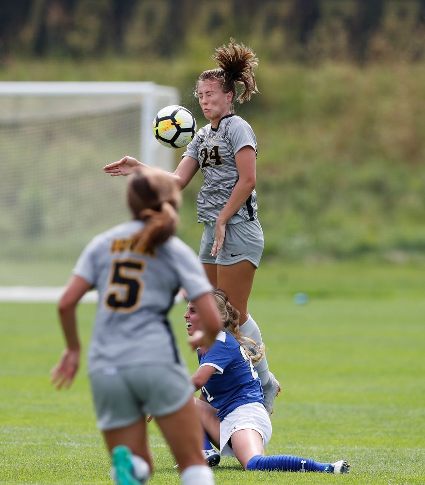 Iowa Hawkeyes Sara Wheaton (24) against Indiana State Sunday, August 26, 2018 at the Iowa Soccer Complex. (Brian Ray/hawkeyesports.com)