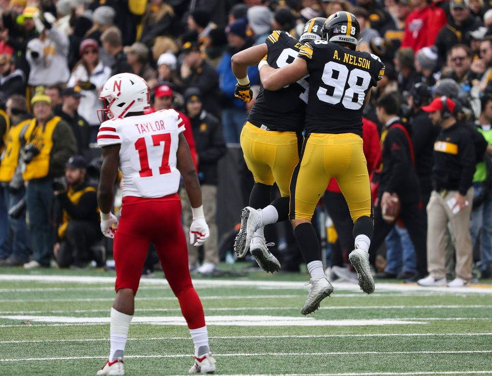 Iowa Hawkeyes defensive end A.J. Epenesa (94) and Iowa Hawkeyes defensive end Anthony Nelson (98) celebrate after getting back-to-back sack to force a punt during a game against Nebraska at Kinnick Stadium on November 23, 2018. (Tork Mason/hawkeyesports.com)