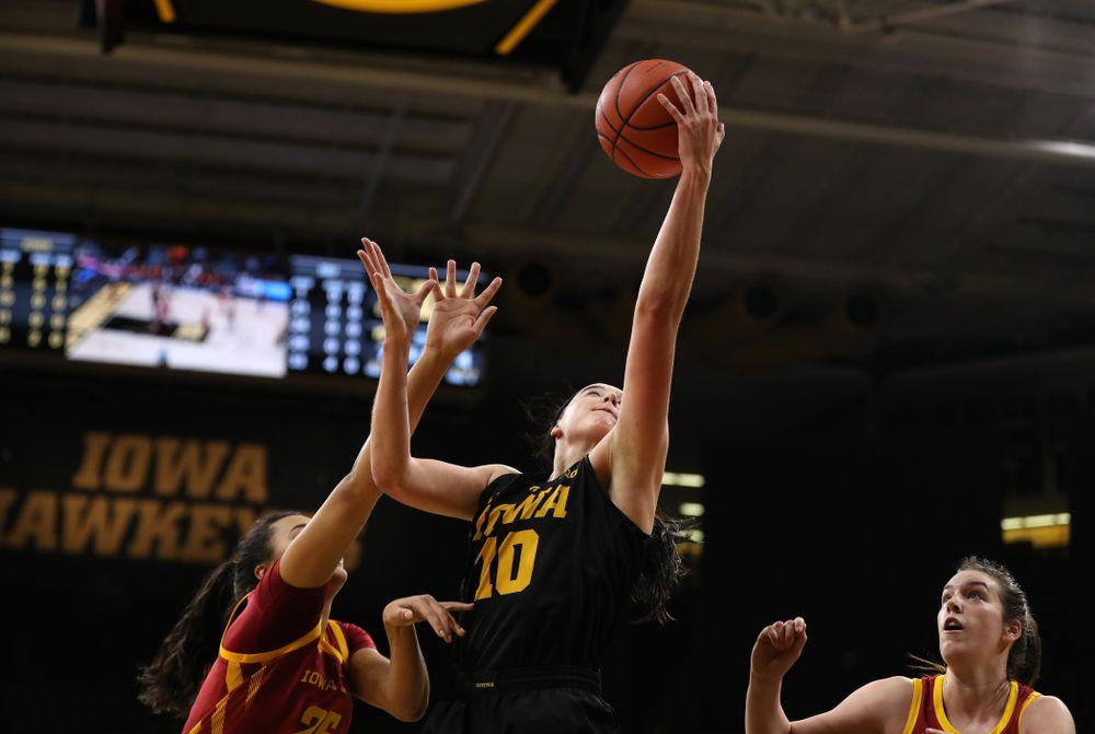 Iowa Hawkeyes forward Megan Gustafson (10) against the Iowa State Cyclones in the Iowa Corn Cy-Hawk Series Wednesday, December 5, 2018 at Carver-Hawkeye Arena. (Brian Ray/hawkeyesports.com)