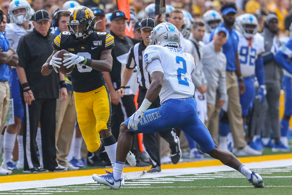 Iowa Hawkeyes defensive back Matt Hankins (8) against Middle Tennessee Saturday, September 28, 2019 at Kinnick Stadium. (Lily Smith/hawkeyesports.com)