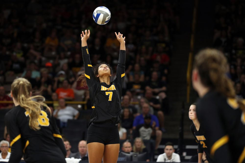 against the Iowa State Cyclones Saturday, September 21, 2019 at Carver-Hawkeye Arena. (Brian Ray/hawkeyesports.com)