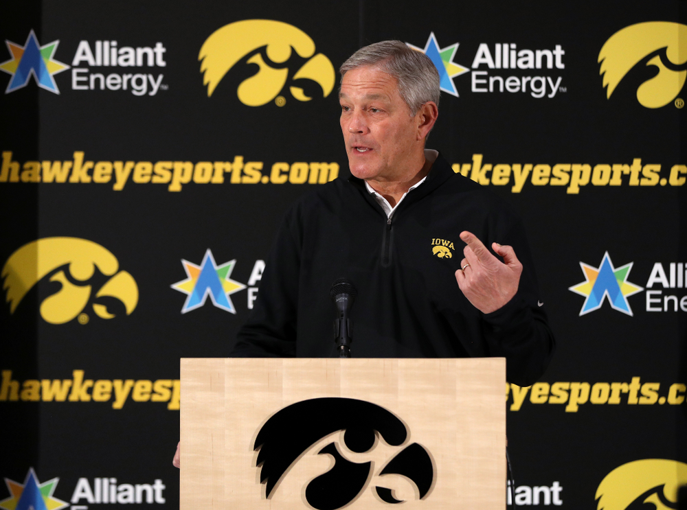 Iowa Hawkeyes head coach Kirk Ferentz addresses the media about the Hawkeyes selection to face Mississippi State in the Outback Bowl Sunday, December 2, 2018 at the Hansen Football Performance Center. (Brian Ray/hawkeyesports.com)