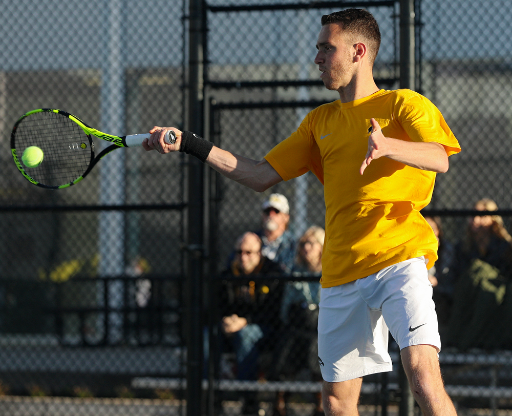 Iowa's Kareem Allaf during their doubles match again Michigan State at the Hawkeye Tennis and Recreation Complex in Iowa City on Friday, Apr. 19, 2019. (Stephen Mally/hawkeyesports.com)