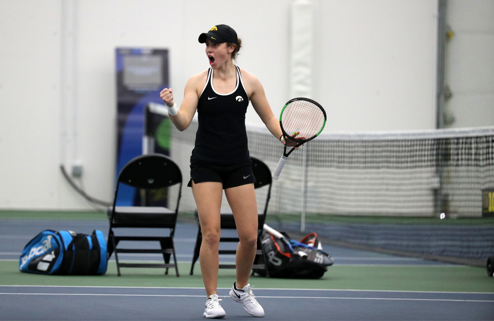 Iowa's Samantha Mannix and Elise Van Heuvelen Treadwell play a doubles match against the Penn State Nittany Lions Sunday, February 24, 2019 at the Hawkeye Tennis and Recreation Complex. (Brian Ray/hawkeyesports.com)