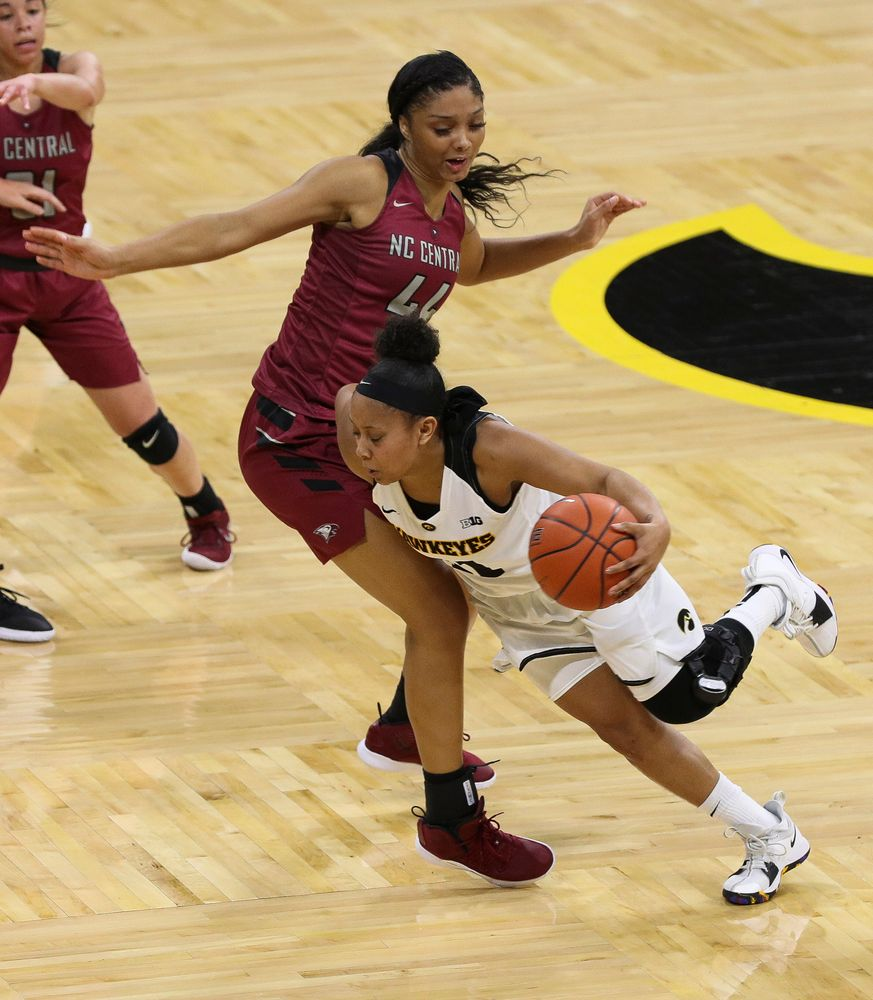 Iowa Hawkeyes guard Tania Davis (11) dribbles to the wing during a game against North Carolina Central at Carver-Hawkeye Arena on November 17, 2018. (Tork Mason/hawkeyesports.com)
