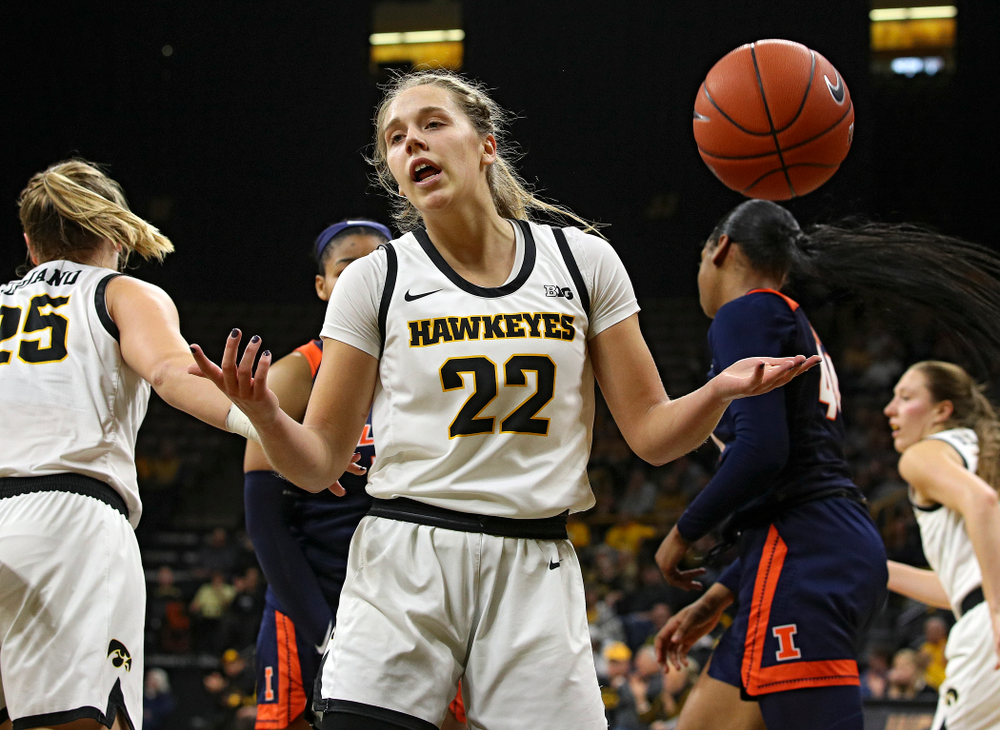 Iowa Hawkeyes guard Kathleen Doyle (22) motions after scoring a basket through contact during the second quarter of their game at Carver-Hawkeye Arena in Iowa City on Tuesday, December 31, 2019. (Stephen Mally/hawkeyesports.com)