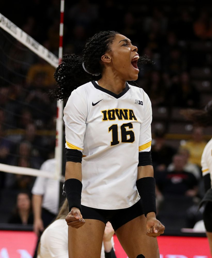 Iowa Hawkeyes outside hitter Taylor Louis (16) against the Ohio State Buckeyes Saturday, November 24, 2018 at Carver-Hawkeye Arena. (Brian Ray/hawkeyesports.com)