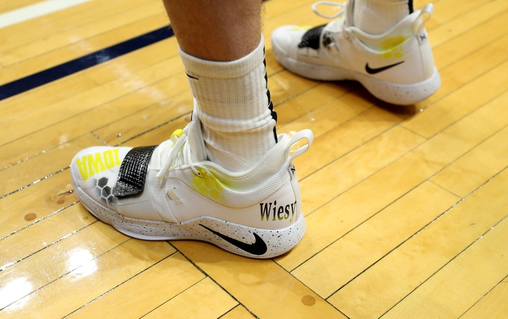 Iowa Hawkeyes guard Joe Wieskamp (10) sports custom painted shoes during practice at Hinkle Fieldhouse  Wednesday, March 11, 2020 in Indianapolis. (Brian Ray/hawkeyesports.com)