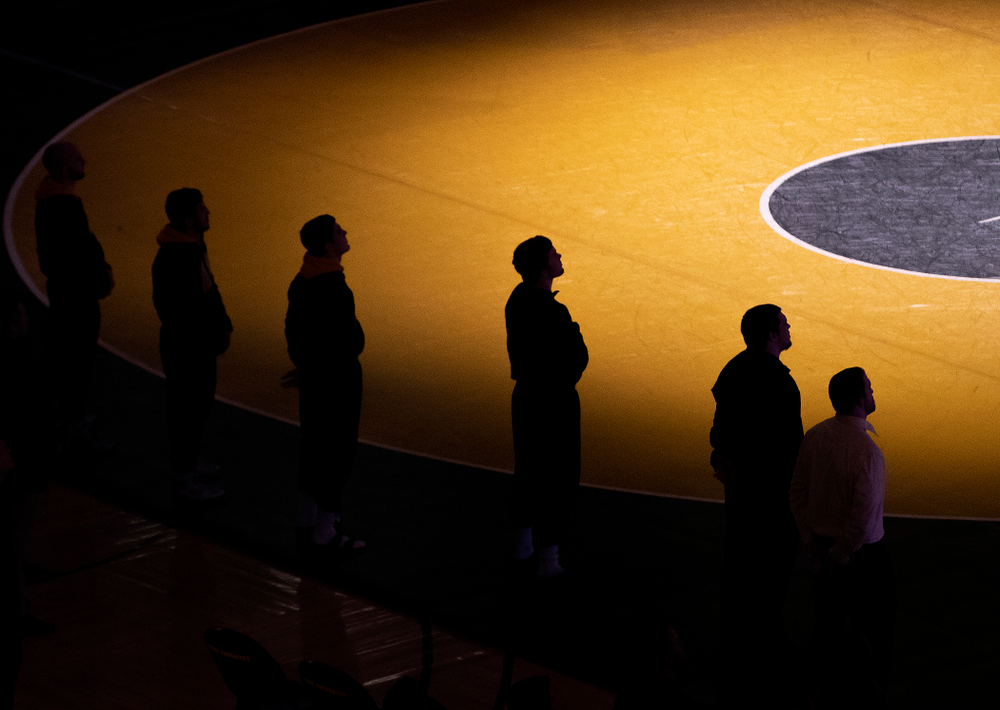 Iowa wrestlers prepare for their dual at Carver-Hawkeye Arena in Iowa City on Friday, January 31, 2020. (Stephen Mally/hawkeyesports.com)
