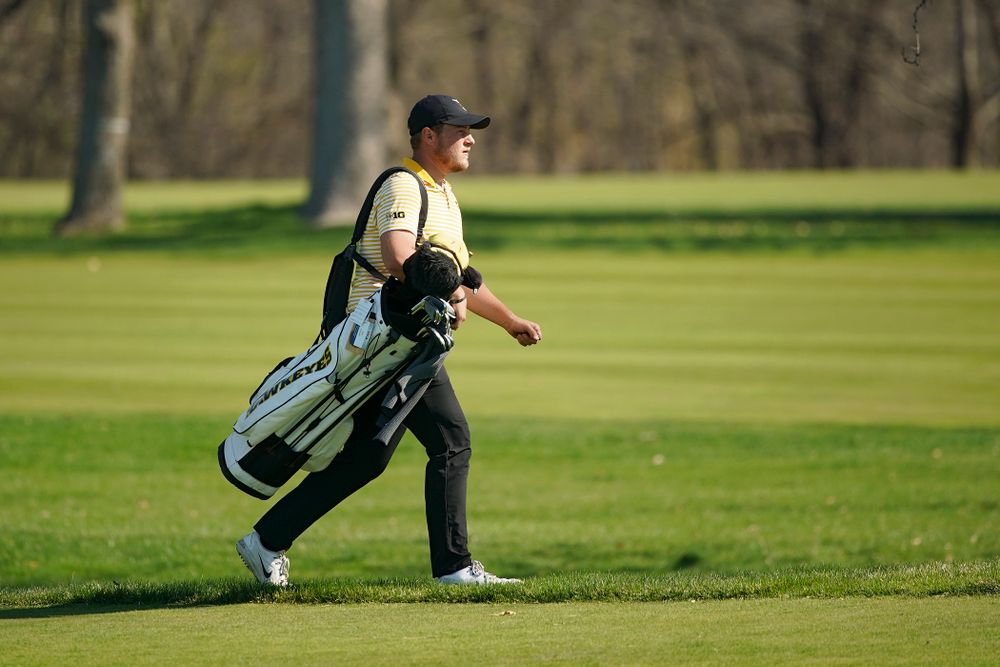 Iowa's Alex Schaake walks to the green during the third round of the Hawkeye Invitational at Finkbine Golf Course in Iowa City on Sunday, Apr. 21, 2019. (Stephen Mally/hawkeyesports.com)