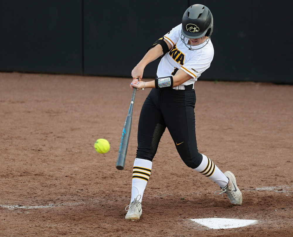 Iowa right fielder Cameron Cecil (1) connects on a pitch during the fifth inning of their game against Ohio State at Pearl Field in Iowa City on Friday, May. 3, 2019. (Stephen Mally/hawkeyesports.com)