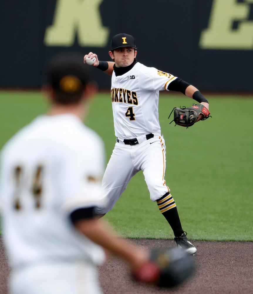Iowa Hawkeyes infielder Mitchell Boe (4) during a double header against the Indiana Hoosiers Friday, March 23, 2018 at Duane Banks Field. (Brian Ray/hawkeyesports.com)