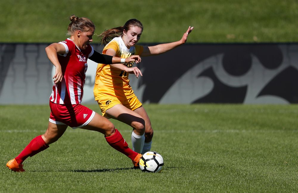 Iowa Hawkeyes midfielder Sydney Blitchok (11) fights for possession during a game against Indiana at the Iowa Soccer Complex on September 23, 2018. (Tork Mason/hawkeyesports.com)