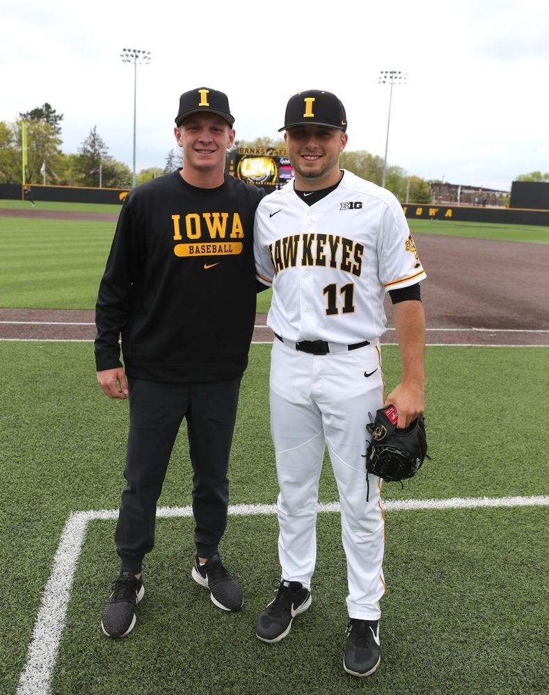 Iowa Hawkeyes Cole McDonald (11) and Ryan Gorman before their game against Michigan State Sunday, May 12, 2019 at Duane Banks Field. (Brian Ray/hawkeyesports.com)