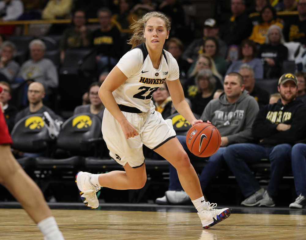 Iowa Hawkeyes guard Kathleen Doyle (22) against the Nebraska Cornhuskers Thursday, January 3, 2019 at Carver-Hawkeye Arena. (Brian Ray/hawkeyesports.com)