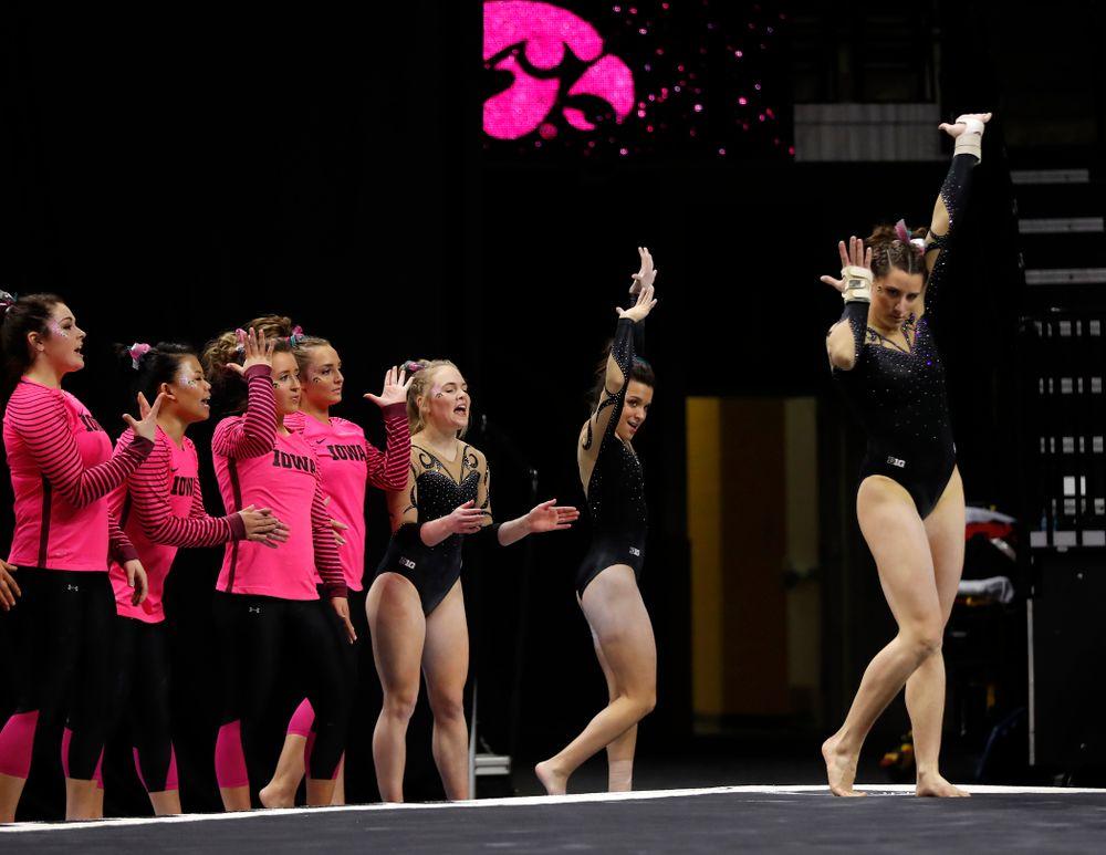 Iowa's Lanie Snyder competes on the floor