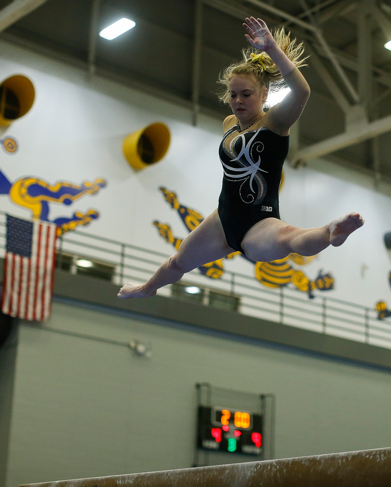 Charlotte Sullivan competes on the balance beam during the Black and Gold Intrasquad meet at the Field House on 12/2/17. (Tork Mason/hawkeyesports.com)