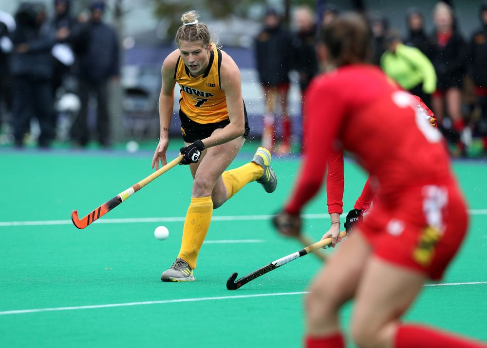Iowa Hawkeyes Ellie Holley (7) against Maryland during the championship game of the Big Ten Tournament Sunday, November 4, 2018 at Lakeside Field in Evanston, Ill. (Brian Ray/hawkeyesports.com)