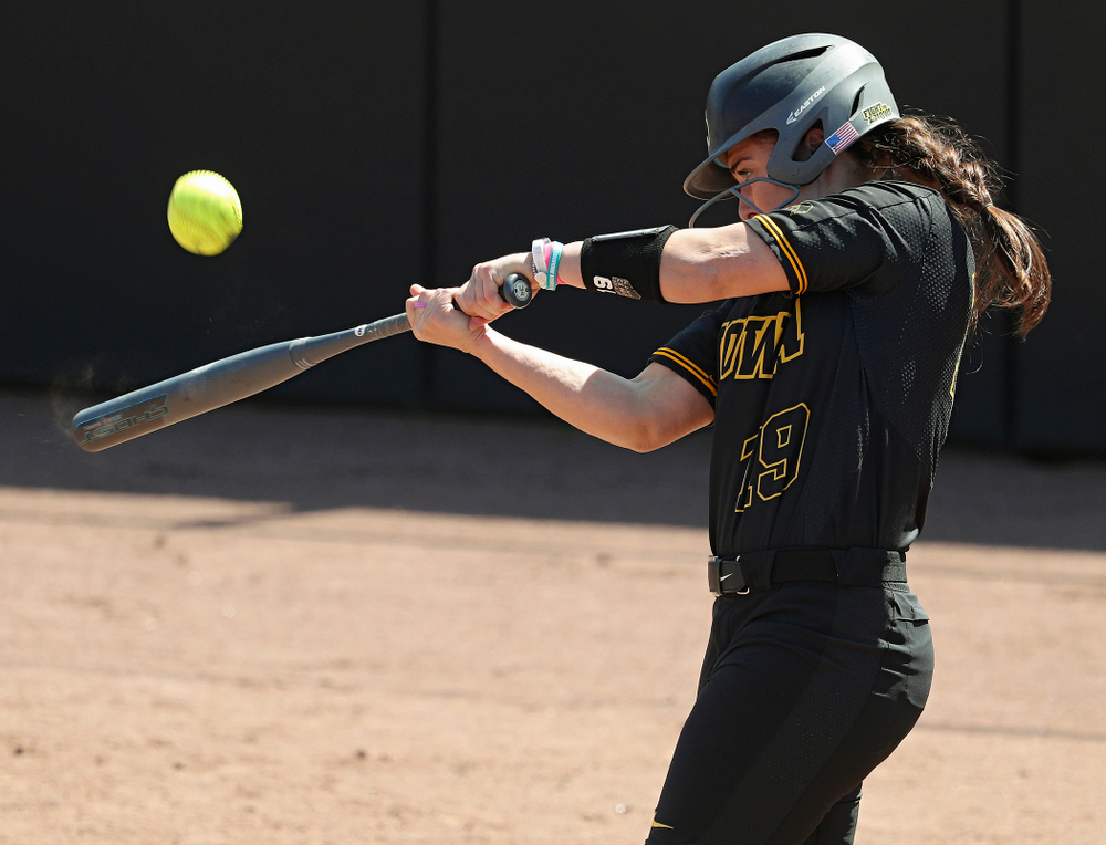 Iowa pinch hitter Elizabeth DeShields (19) bats during the fifth inning of their game against Ohio State at Pearl Field in Iowa City on Saturday, May. 4, 2019. (Stephen Mally/hawkeyesports.com)