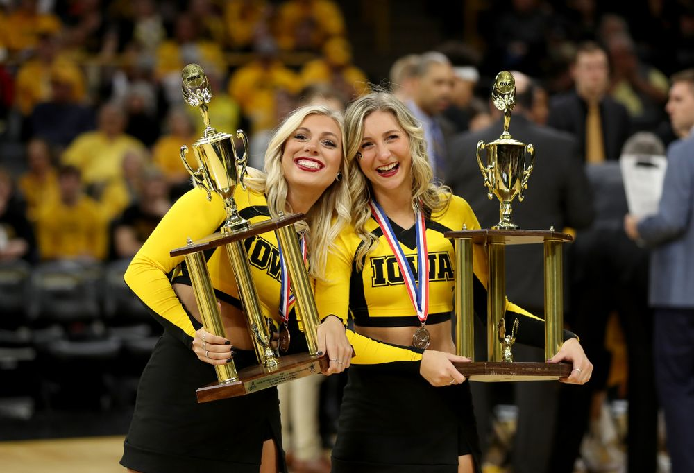 The Iowa Dance Team is recognized during the Iowa Hawkeyes game against the Nebraska Cornhuskers Saturday, February 8, 2020 at Carver-Hawkeye Arena. (Brian Ray/hawkeyesports.com)
