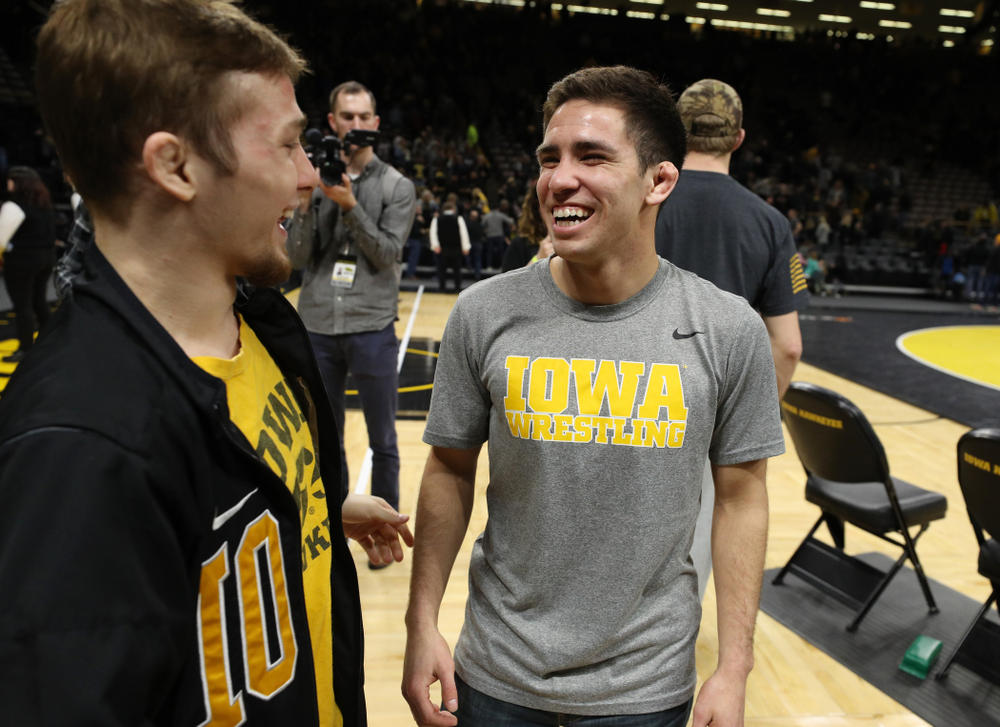 Iowa senior Perez Perez during senior night following their meet against the Indiana Hoosiers Friday, February 15, 2019 at Carver-Hawkeye Arena. (Brian Ray/hawkeyesports.com)