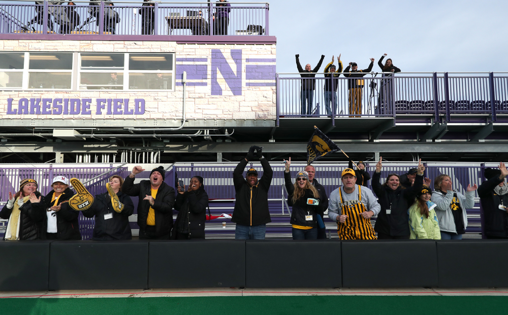 Fans of the Iowa Hawkeyes celebrate their victory against the Michigan Wolverines in the semi-finals of the Big Ten Tournament Friday, November 2, 2018 at Lakeside Field on the campus of Northwestern University in Evanston, Ill. (Brian Ray/hawkeyesports.com)