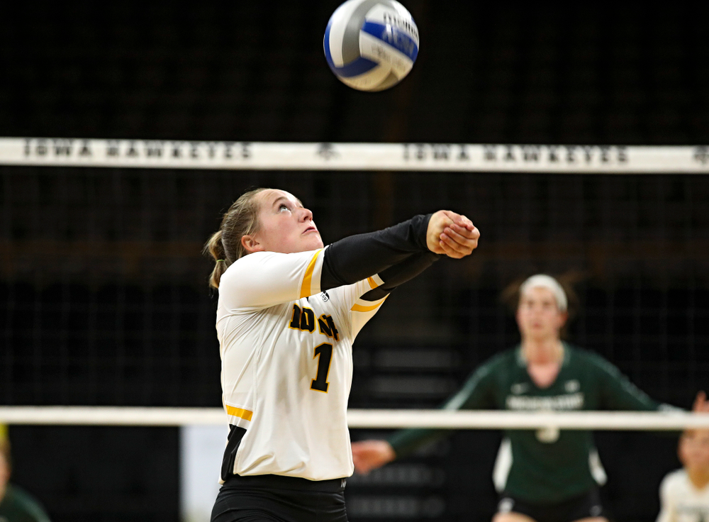Iowa's Joslyn Boyer (1) eyes the ball during the second set of their volleyball match at Carver-Hawkeye Arena in Iowa City on Sunday, Oct 13, 2019. (Stephen Mally/hawkeyesports.com)