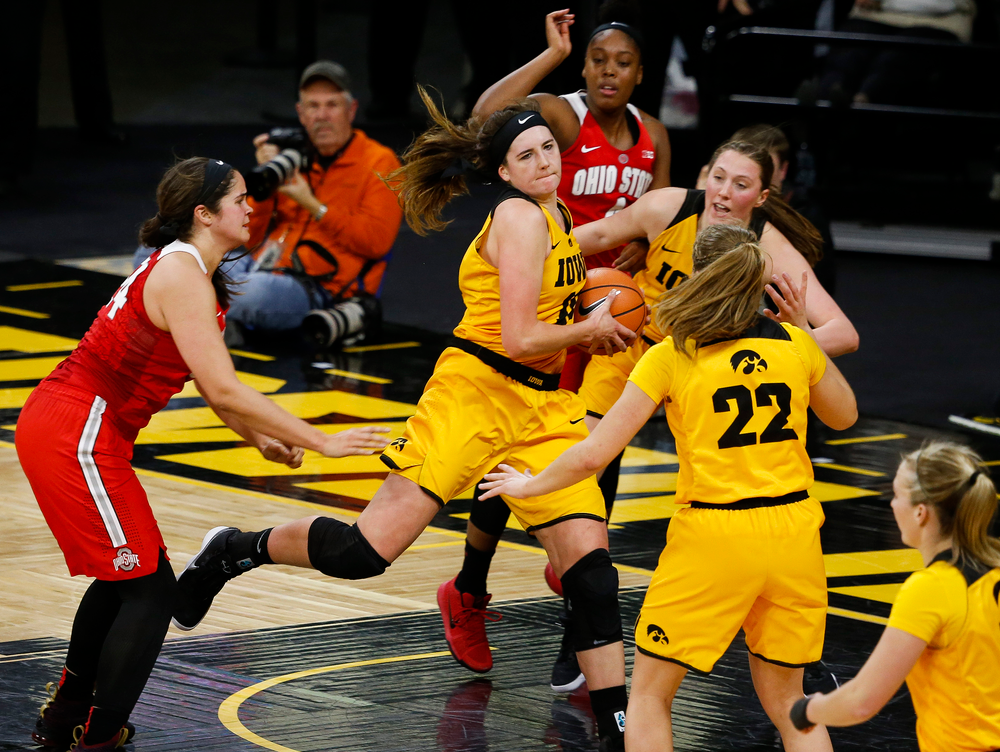 Iowa Hawkeyes forward Megan Gustafson (10) pulls down a rebound during a game against the Ohio State Buckeyes at Carver-Hawkeye Arena on January 25, 2018. (Tork Mason/hawkeyesports.com)