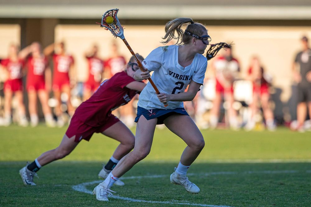 STANFORD, California - FEBRUARY 14:  Virginia Cavaliers midfield Sammy Mueller (2) shoots against the Stanford Cardinal during the second half at Cagan Stadium on February 14, 2020 in Stanford, California. The Virginia Cavaliers defeated the Stanford Cardinal 12-11. (Photo by Jason O. Watson)