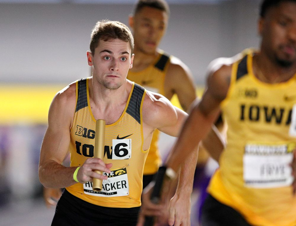 Iowa's Collin Hofacker runs the men's 1600 meter relay event during the Hawkeye Invitational at the Recreation Building in Iowa City on Saturday, January 11, 2020. (Stephen Mally/hawkeyesports.com)