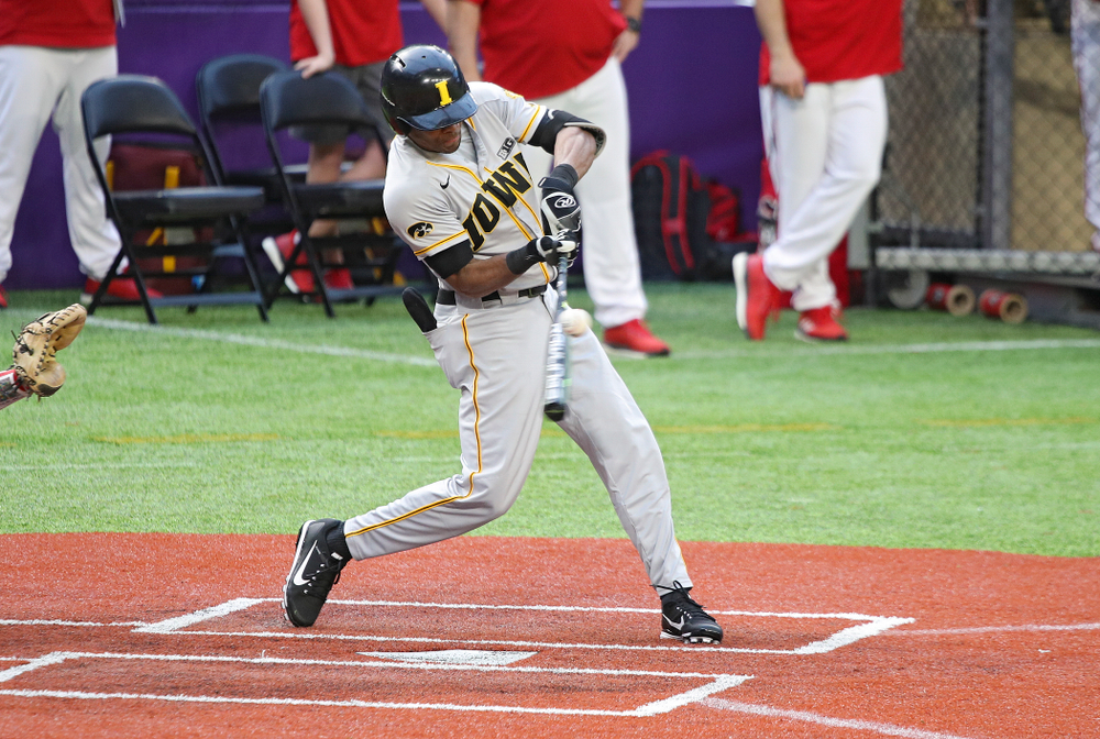 Iowa Hawkeyes infielder Lorenzo Elion (1) bats during the ninth inning of their CambriaCollegeClassic game at U.S. Bank Stadium in Minneapolis, Minn. on Friday, February 28, 2020. (Stephen Mally/hawkeyesports.com)