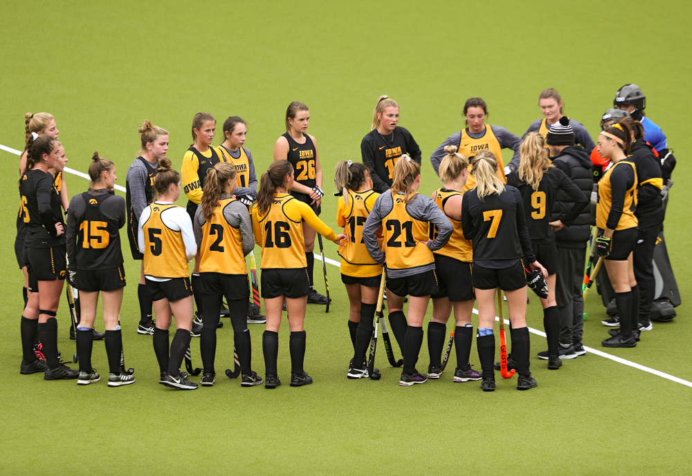 Iowa head coach Lisa Cellucci talks with her team during their practice at Karen Shelton Stadium in Chapel Hill, N.C. on Thursday, Nov 14, 2019. (Stephen Mally/hawkeyesports.com)
