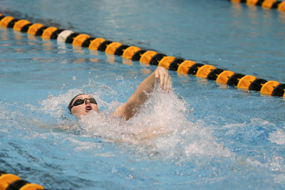Iowa's Georgia Clark swims the women's 200 backstroke during the Iowa swimming and diving meet vs Notre Dame and Illinois on Saturday, January 11, 2020 at the Campus Recreation and Wellness Center. (Lily Smith/hawkeyesports.com)