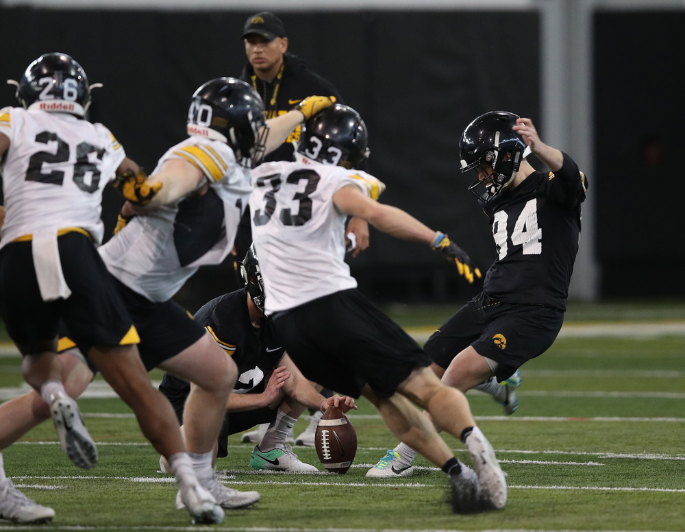 Iowa Hawkeyes place kicker Caleb Schudak (94) during preparation for the 2019 Outback Bowl Tuesday, December 18, 2018 at the Hansen Football Performance Center. (Brian Ray/hawkeyesports.com)