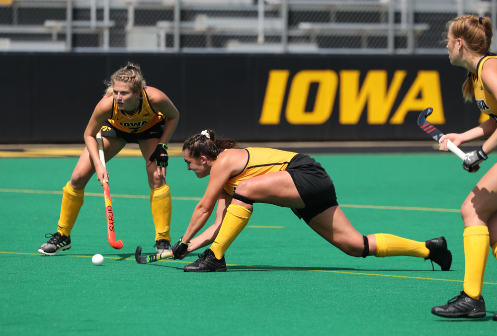Iowa Hawkeyes defenseman Anthe Nijziel (6) scores on a penalty corner during an exhibition game against Northwestern Saturday, August 24, 2019 at Grant Field. (Brian Ray/hawkeyesports.com)