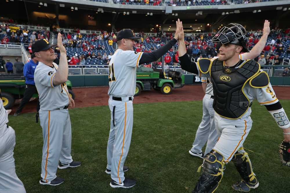 Iowa Hawkeyes head coach Rick Heller against the Indiana Hoosiers in the first round of the Big Ten Baseball Tournament Wednesday, May 22, 2019 at TD Ameritrade Park in Omaha, Neb. (Brian Ray/hawkeyesports.com)
