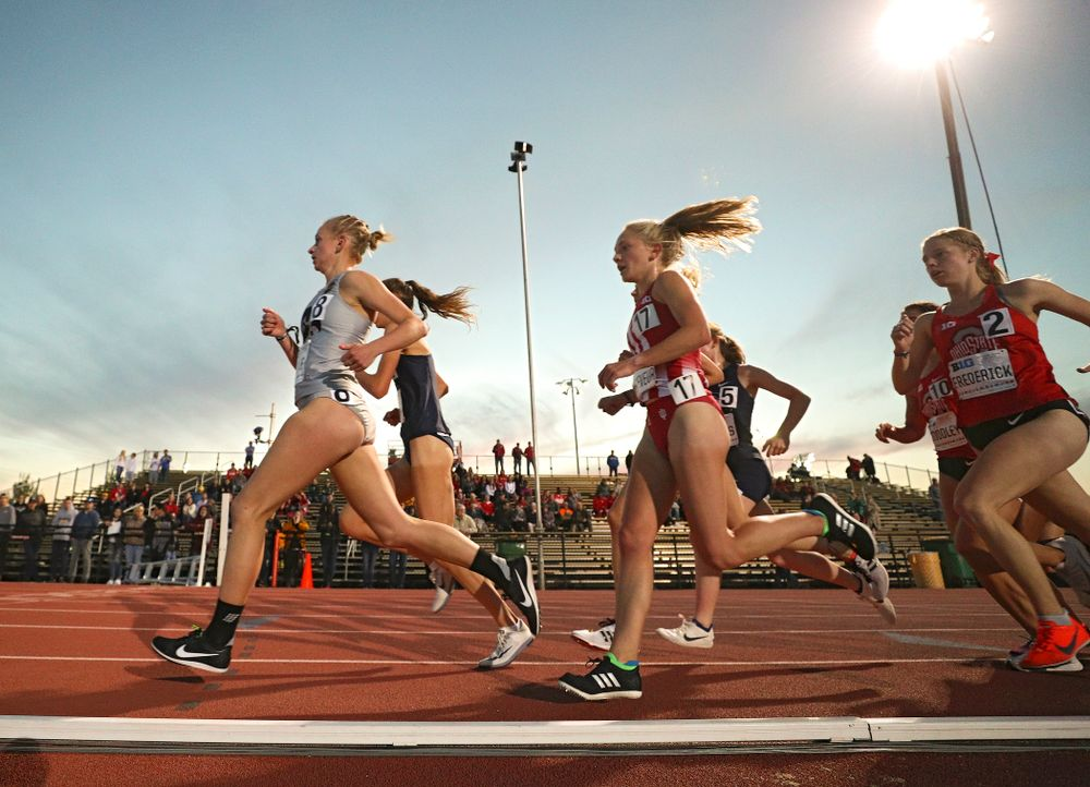 Iowa's Andrea Shine runs the women's 10,000 meter event on the first day of the Big Ten Outdoor Track and Field Championships at Francis X. Cretzmeyer Track in Iowa City on Friday, May. 10, 2019. (Stephen Mally/hawkeyesports.com)