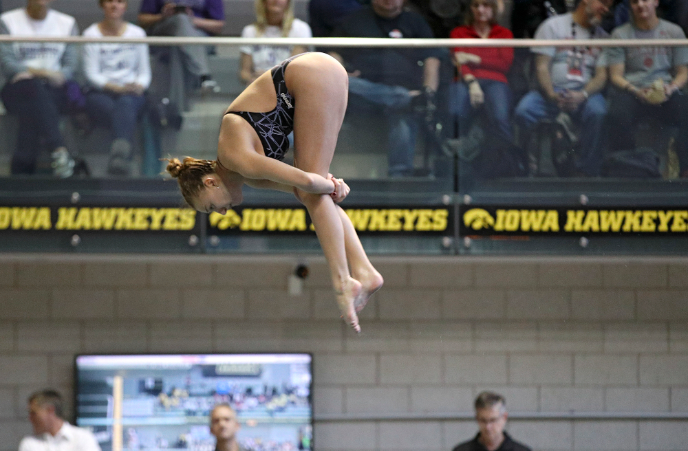 Iowa's Samantha Tamborski competes in the women's 1 meter diving consolation finals event during the 2020 Women's Big Ten Swimming and Diving Championships at the Campus Recreation and Wellness Center in Iowa City on Thursday, February 20, 2020. (Stephen Mally/hawkeyesports.com)