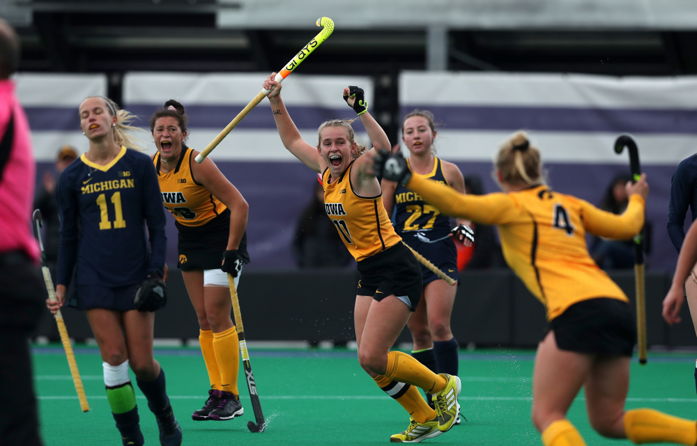 Iowa Hawkeyes Katie Birch (11) celebrates the game winning goal against the Michigan Wolverines in the semi-finals of the Big Ten Tournament Friday, November 2, 2018 at Lakeside Field on the campus of Northwestern University in Evanston, Ill. (Brian Ray/hawkeyesports.com)