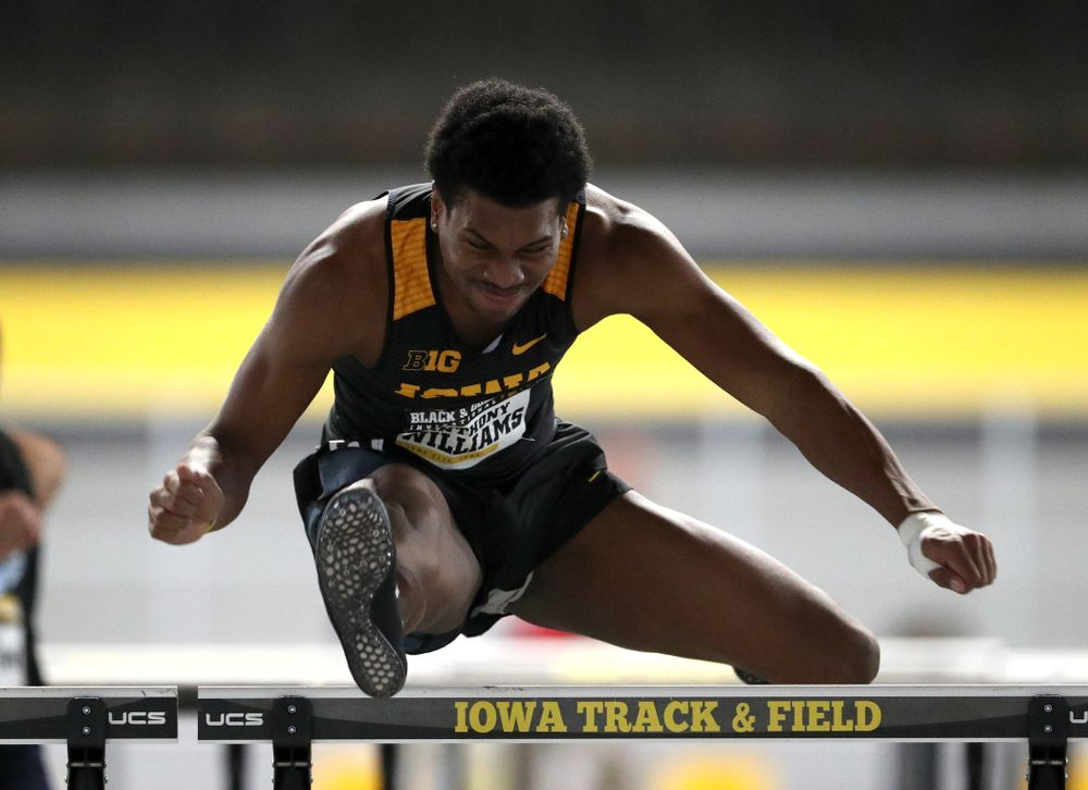Iowa's Anthony Williams competes in the 60-meter hurdles during the Black and Gold Premier meet Saturday, January 26, 2019 at the Recreation Building. (Brian Ray/hawkeyesports.com)