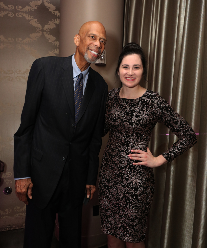 Iowa Hawkeyes forward Megan Gustafson (10) with NBA great Kareem Abdul-Jabbar before the ESPN College Basketball Awards show Friday, April 12, 2019 at The Novo at LA Live.  (Brian Ray/hawkeyesports.com)