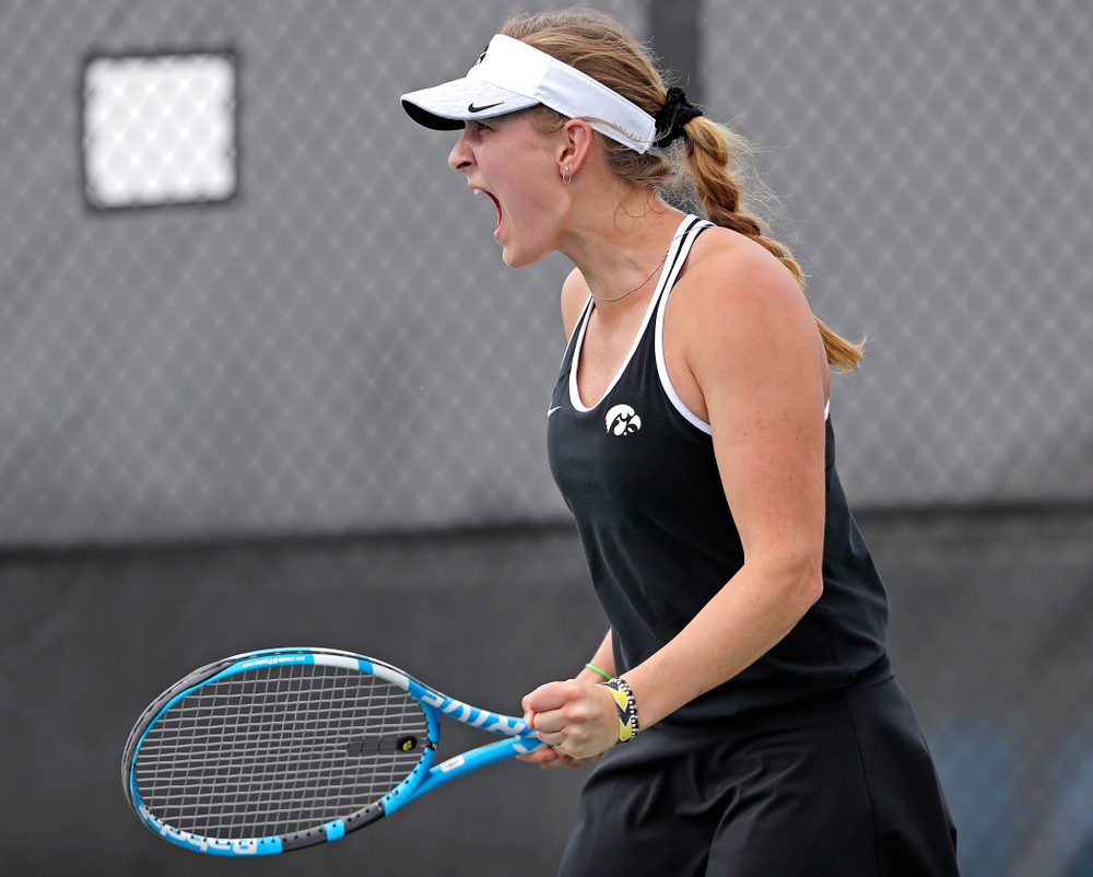 Iowa's Ashleigh Jacobs celebrates after winning her match against Rutgers at the Hawkeye Tennis and Recreation Complex in Iowa City on Friday, Apr. 5, 2019. (Stephen Mally/hawkeyesports.com)
