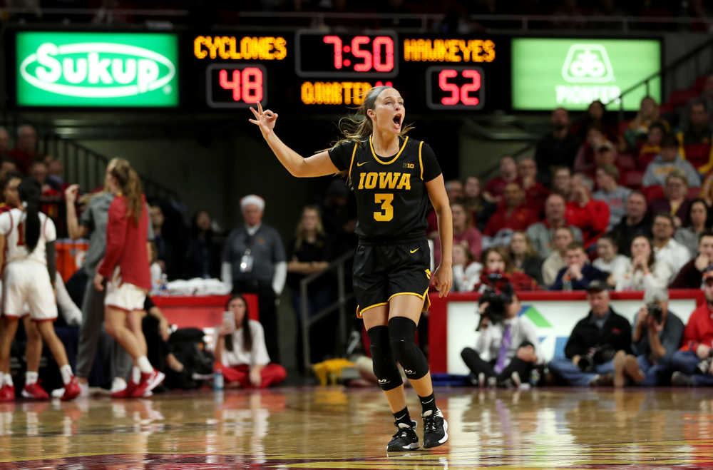 Iowa Hawkeyes guard Makenzie Meyer (3) celebrates a three point basket against the Iowa State Cyclones Wednesday, December 11, 2019 at Hilton Coliseum in Ames, Iowa(Brian Ray/hawkeyesports.com)