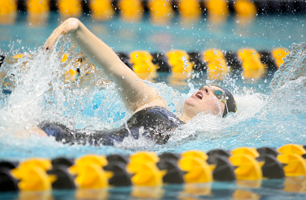 Iowa's Erin Lang swims in the women's 200 yard backstroke preliminary event during the 2020 Women's Big Ten Swimming and Diving Championships at the Campus Recreation and Wellness Center in Iowa City on Saturday, February 22, 2020. (Stephen Mally/hawkeyesports.com)